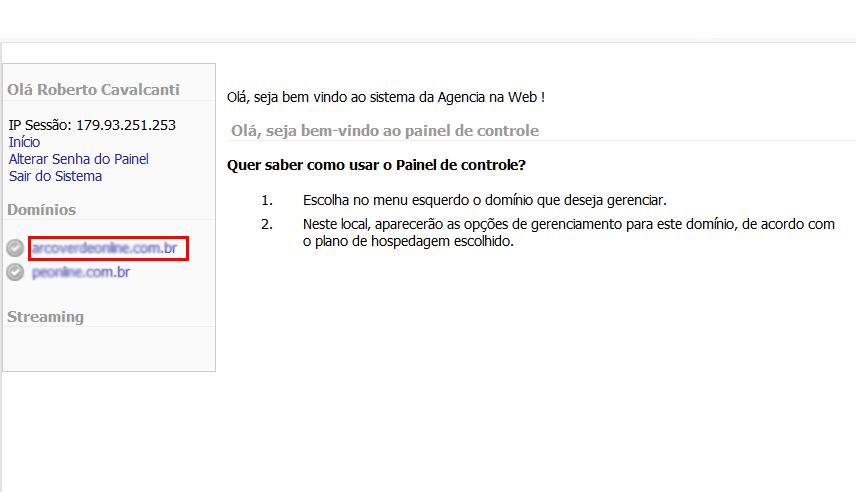 Painel de Controle > Emails